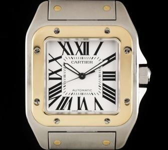 Cartier Santos 100 XL Stainless Steel & 18k Yellow Gold Silver Dial