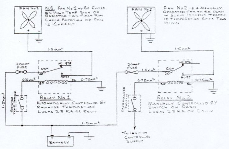 Circuit diagram of electric cooling fan installation.