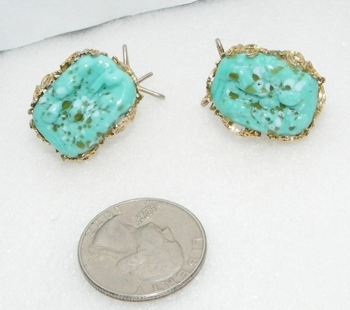 Vintage Faux Turquoise Speckled Art Glass Wingback Earrings Costume Jewelry | eBay SOLD