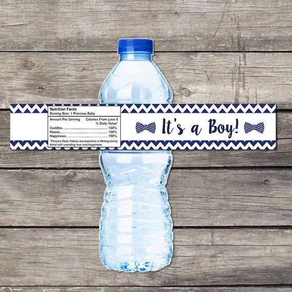 Little Man Baby Shower Water Bottle Labels for Baby Shower - Bowtie Baby Shower Favors - Boy 220
