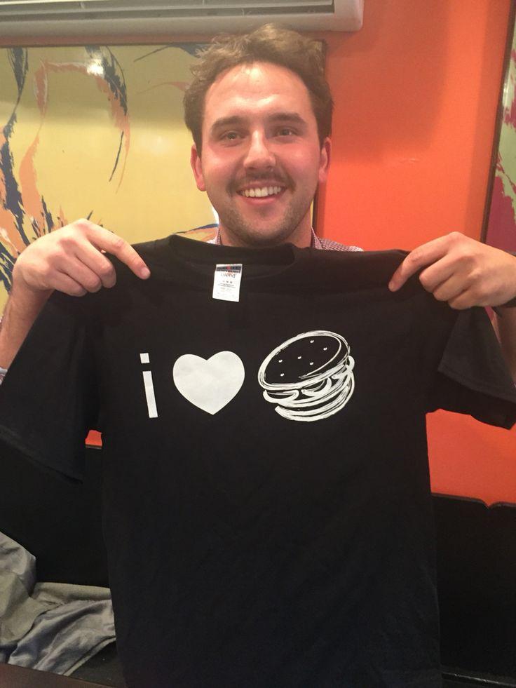 Andrew Baskin getting his new shirt