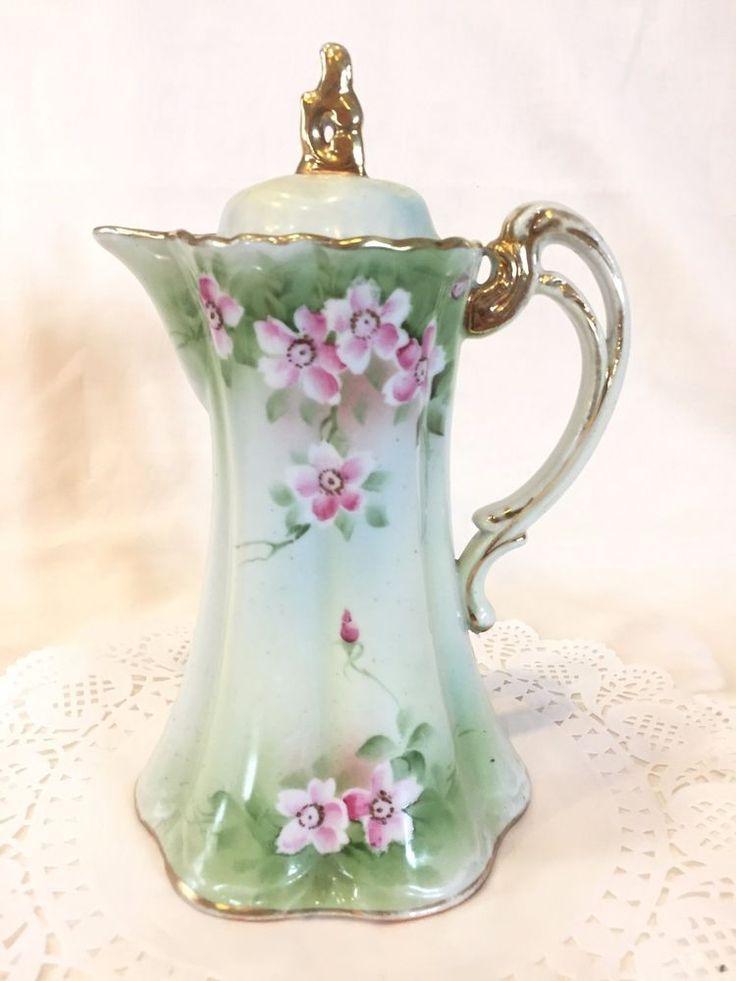 Antique Nippon Floral Hand Painted Porcelain Chocolate Pot, Japan - Undated