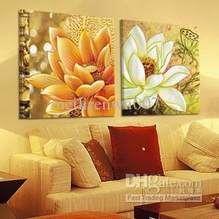 Wholesale Handicraft Abstract Feng Shui Painting :lotus Painting (no frame, Free shipping, $36.57-45.6/Piece | DHgate
