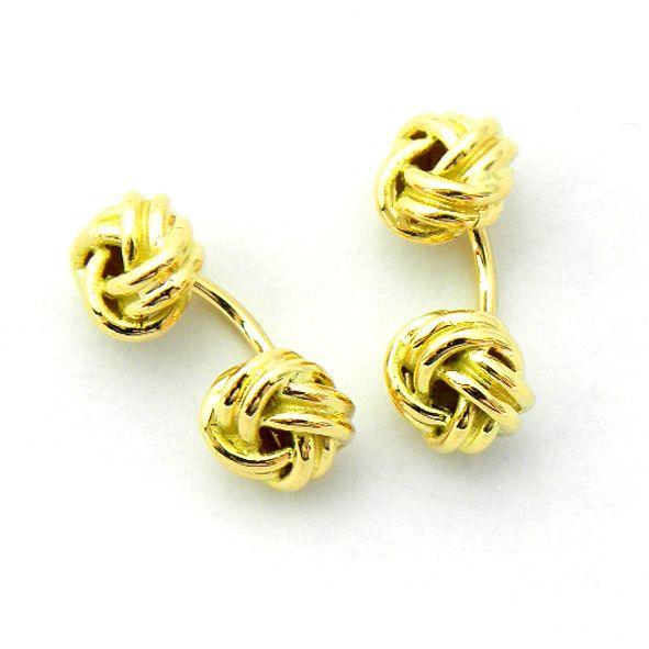 gemelos dos nudos rigidos brillo oro amarillo