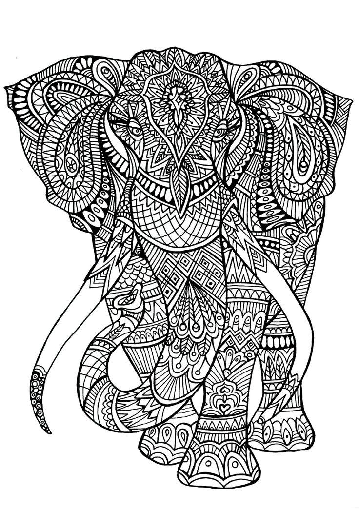 Galerie de coloriages gratuits coloriage-adulte-anima-gros-elephant. Un majestueux et imposant éléphan