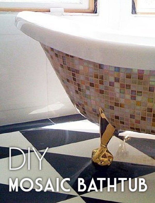 Check out this easy tutorial on how to make a #DIY mosaic bathtub. Love it! #HomeDecorIdeas @istandarddesign