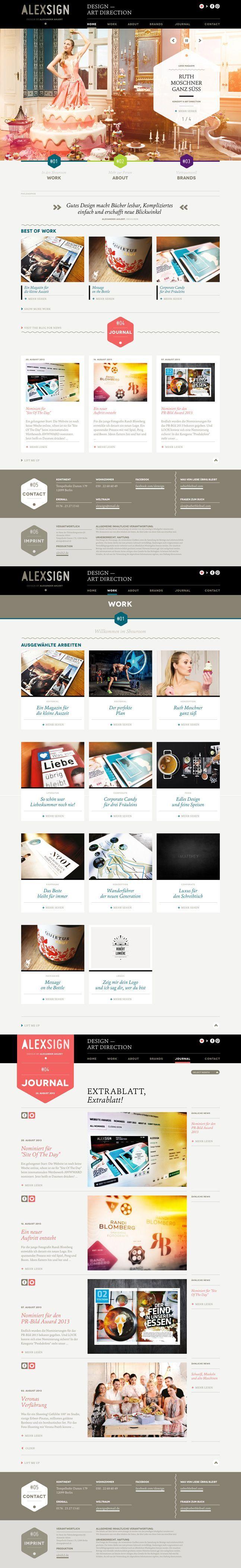 25 August 2013 ALEXSIGN by Alexander Ahlert http://www.cssdesignawards.com/css-web-design-award-winner.php?id=22173 #Portfolio #Scroll #ArtDirection