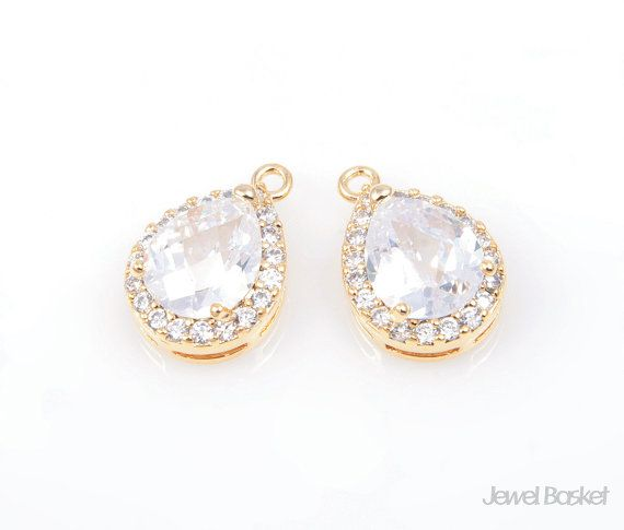 - Highly Polished Gold Plated over Brass (Tarnish Resistant) - Cubic Zirconia and Brass / 11mm x 16mm - 2pcs /1 pack