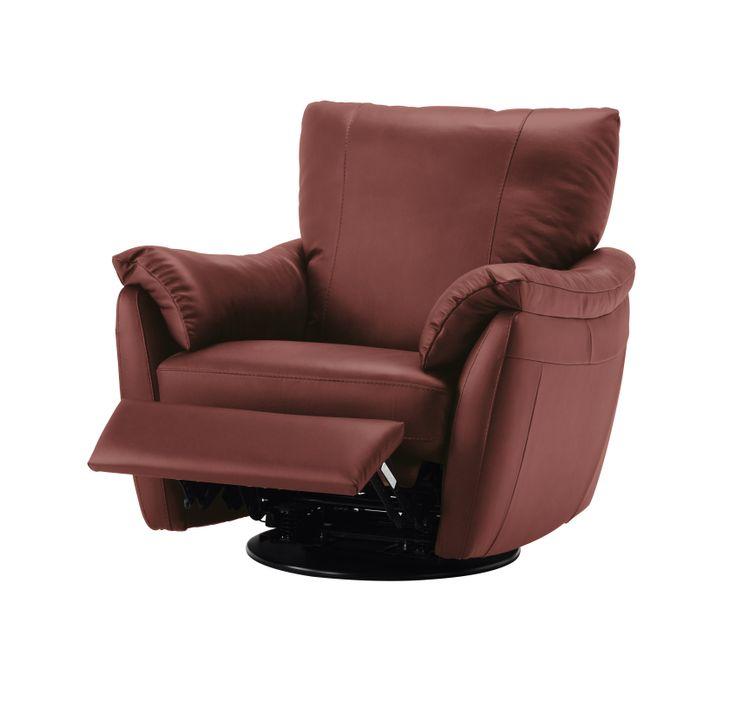 Fotel ÄLVROS obrotowy, bujany, z opuszczanym oparciem. Siedziska i podłokietniki pokryte miękką skórą ziarnistą. Możliwość regulacji pozycji na siedzącą lub półleżącą. Poduszka wypełniona pianką i włóknem poliestrowym, 92/102/94. 2.999zł, IKEA