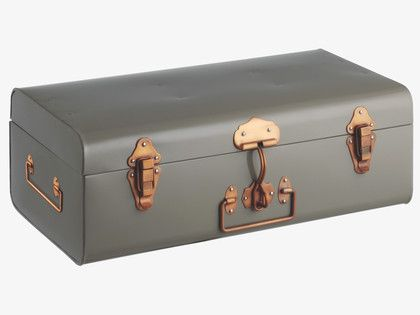 TRUNK GREYS Metal Small grey metal storage trunk - HabitatUK