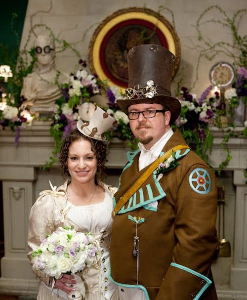 Eric and Stacy: A Steampunk Wedding: Steampunk Creations, Steampunk Bridal, Steampunk Dreams, Alternative Steam, Alternative Ideas, Steampunk Ideas, Wedding Theme, Steampunk Theme, Steampunk Clothing