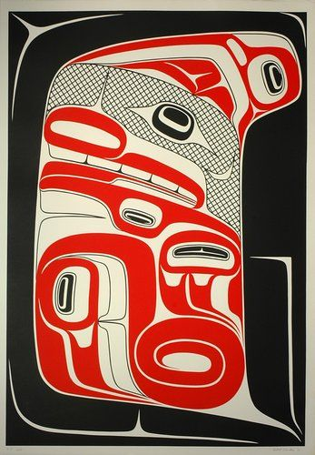 Seawolf Inside Its Own Dorsal Fin (1983) by Robert Davidson, Haida artist. #Canadian #Art in #BC
