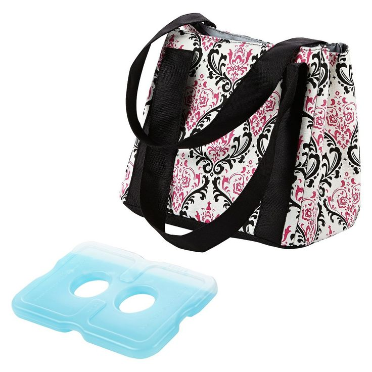 Fit & Fresh Venice Insulated Lunch Bag with Reusable Ice Pack - Pink/Black Chandelier, White