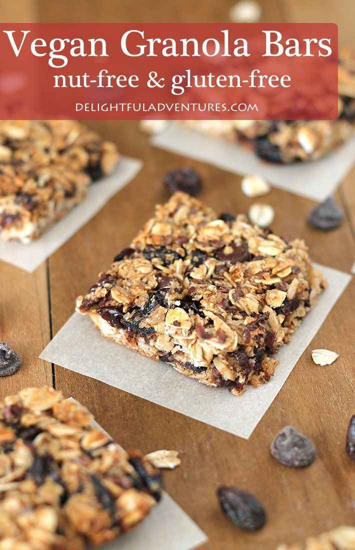 Vegan Granola Bars that also happen to be nut-free and gluten-free! This is a quick and easy recipe to make and add-ins can be customized to suit what you and your family prefer. #vegansnacks #vegangranolabars #veganglutenfree #glutenfreevegan