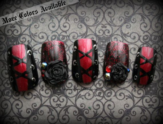 As seen in Gothic Beauty magazine! On offer are some gothic press on nails for all you bad girls out there! Three colors available, all with