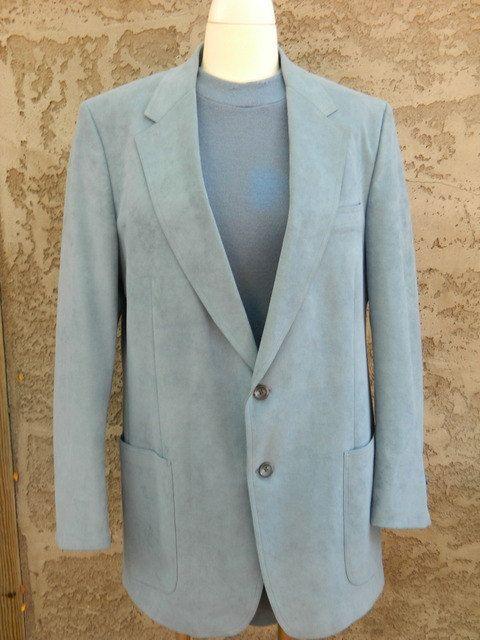 Vintage 1970s Boyds Blue Suede Blazer Suit Jacket / Mens Light Blue Sports Coat / Large Mens Jacket by VintageBaublesnBits on Etsy