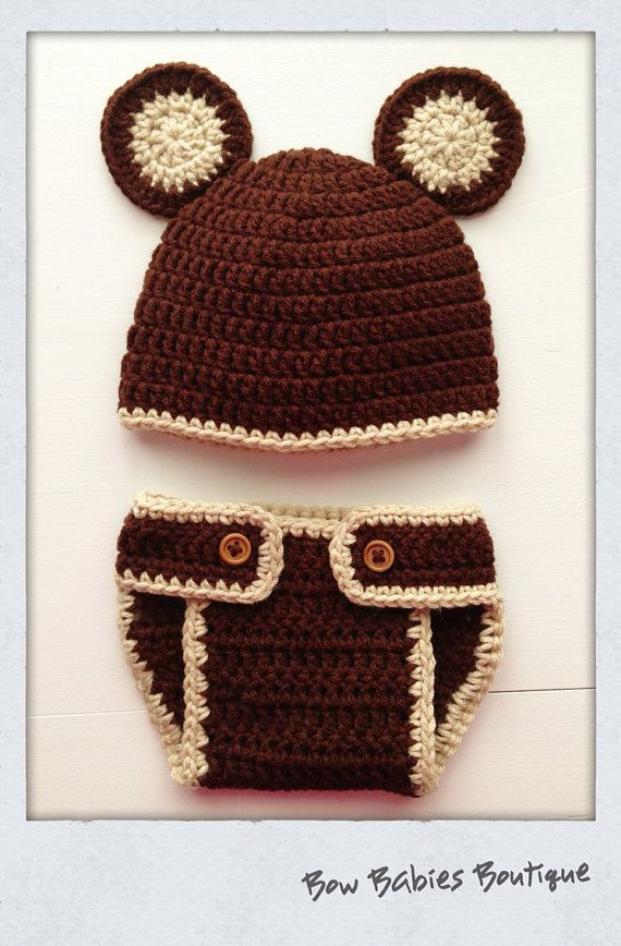 Book Cover Crochet Hats : Handmade crocheted newborn teddy bear hat diaper cover