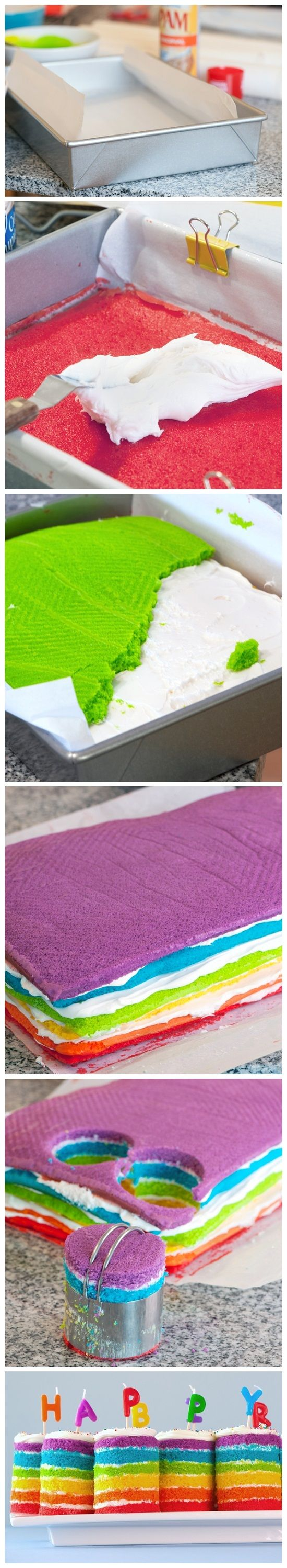 Teeny Tiny Rainbow Cakes-2 boxes Better Crocker SuperMoist white cake mix, mixed up according to package directions  3 tubs white frosting  parchment paper  9″x13″ inch pans  liquid food coloring (I used colors from both the classic and neon sets)