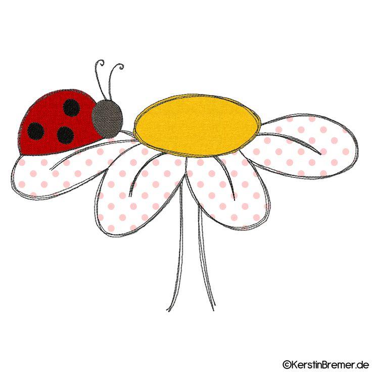 Marienkäfer Blume Doodle Stickdatei