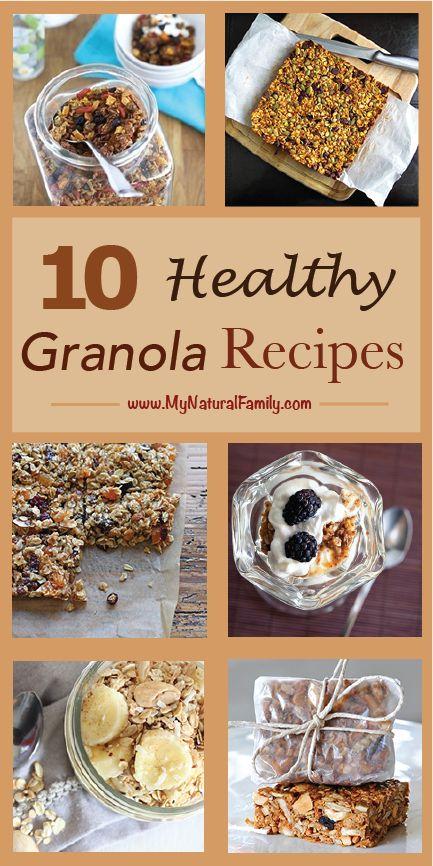 10 Healthy Granola Recipes - MyNaturalFamily.com #granola #recipe