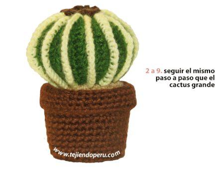 Tutorial: cactus redondo con espinas tejido a crochet (amigurumi cactus)