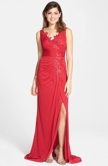 Adrianna Papell Sequin Tulle Faux Wrap Gown available at #Nordstrom
