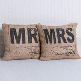 Found it at AllModern - 2 Piece Mr Right, Mrs Always Right Burlap Throw Pillow Set