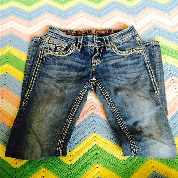Rock Revival Jeans Kai Boot I'm excellent condition and super cute!! Already discounted so much and these aren't cheap!! FINAL SALE. Rock Revival Pants