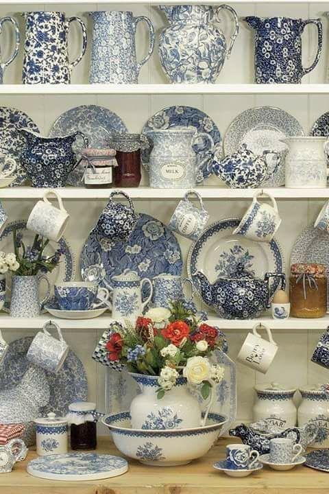 Love a hutch filled with blue and white transfer ware!