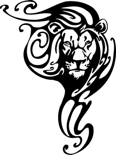 Leo tribal lion tattoos Flash art ~A.R.