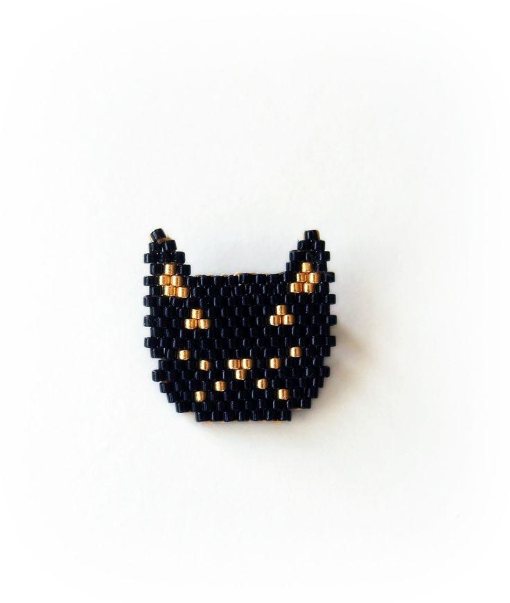 Broche chat noir tissée en perles Miuyki : Broche par lili-azalee-bijoux