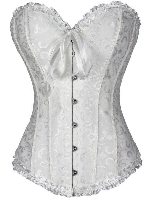Corsets Sexy Women's Plus Size Bustiers & Corsets Overbust Gothic Lace Strapless Bustier Cincher Shaper Corselet Red White Black