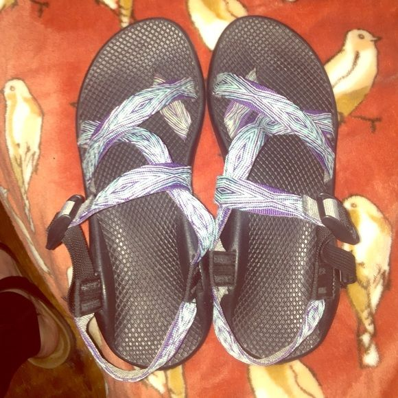 Chacos MAKE OFFERS (: Womens size 10 chacos. Blue and white and purple stripes. I put the toe strap down but you can move the Chaco bands however you want to have it with or without the toe strap. Box is available if wanted. Chacos Shoes Sandals