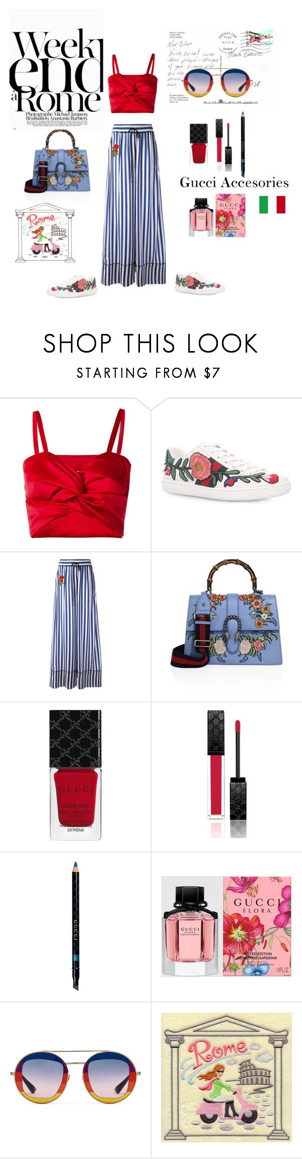 """Weekend à Rome"" by geonell ❤ liked on Polyvore featuring Sadie Williams, Gucci, Off-White, Lara, Summer, summerstyle, gucci, rome and summer2017"