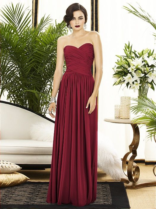 """Love wine as a color for bridesmaid gowns. This color is """"claret"""". Dessy Collection chiffon gown."""