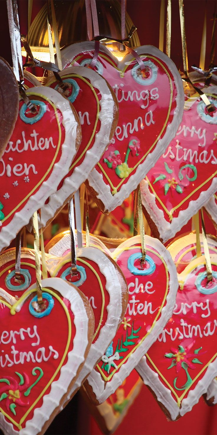 Christmas heart-cakes from Christmas Markets in Vienna, Austria.
