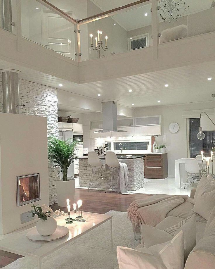 Glam Transitional Modern Interior Design Living Room And Kitchen