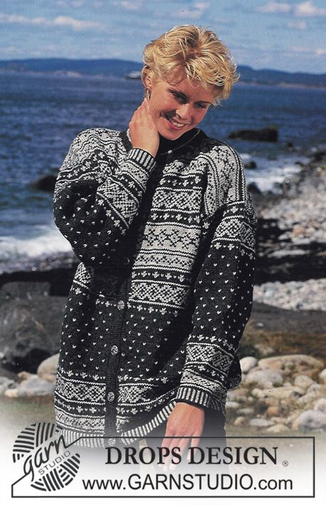 """DROPS 39-30 - DROPS jacket with pattern borders in """"Karisma"""". - Free pattern by DROPS Design"""