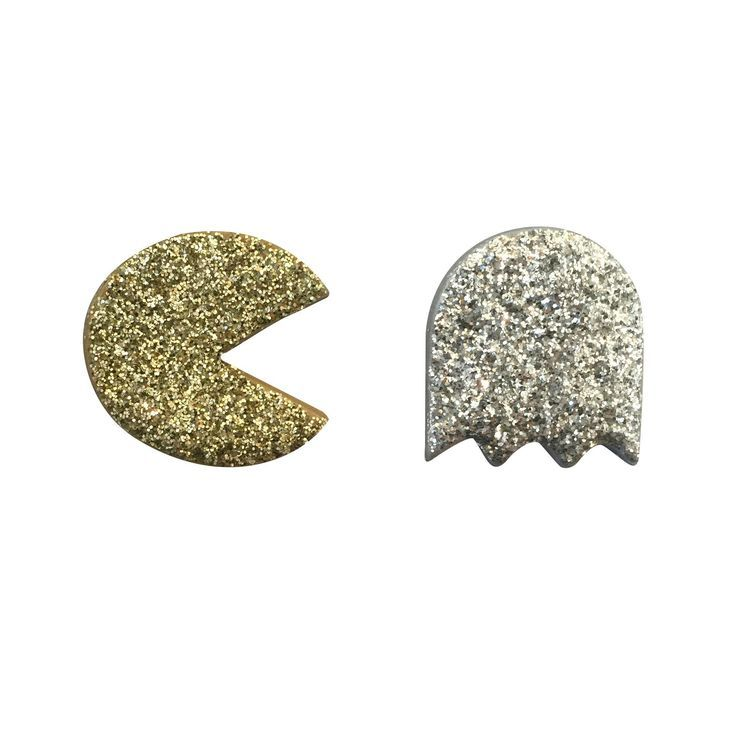 FREE SHIPPING ON ORDERS OVER $50   Funky statement earrings, #handmade in Australia. Glitter Pacman - Gold and Silver #polymerclay Pacman and Ghost are 45mm each.  Covered generously in gold and silver glitter.  So.Much.Fun. #handmadejewelry