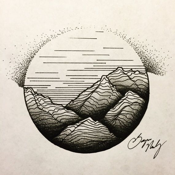 Custom Tattoo Mountain Range Geometric Tattoo by PortraitDraws