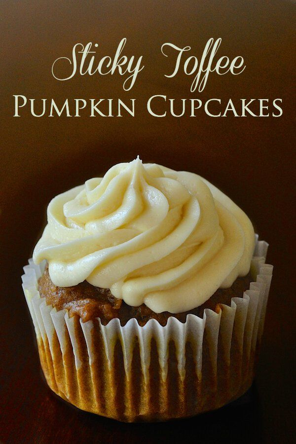 Sticky Toffee Pumpkin Cupcakes with cream cheese frosting - based on a sticky toffee pudding recipe these pumpkin spice cupcakes are rich and caramelly dense.
