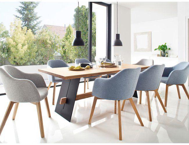 Stuhl Theo Sessel Mit Armlehne Eiche Stoff Silbergrau Design Stuhle Esszimmer Wohn Esszimmer Esszimmer Sessel