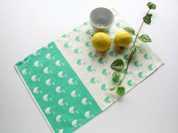 Mint or brown placemats screen printed with trees by Netamente #placemats