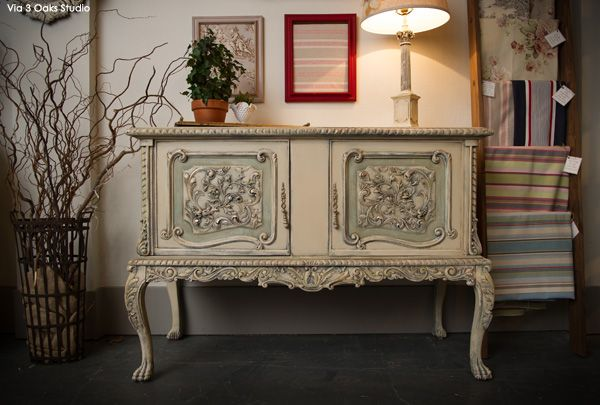 Chalk Paint Decorative Paint on Buffet | Project by 3 Oaks Studio