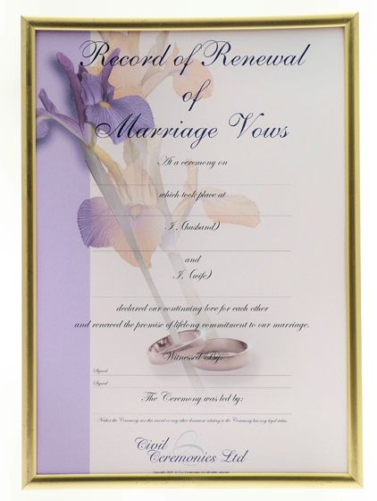 wedding anniversary certificate template - home renewal of vows ceremony renewal of vows certificate