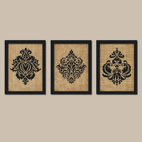 DAMASK French Country Flourish Black Tan Beige Cream by trmDesign, $25.00