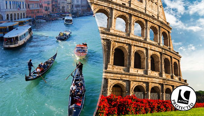 UK Holidays: Rome & Venice, Italy: 4-6 Night Hotel Stay With Flights, Hotels & Train Transfers - Up to 30% Off for just: £159.00 Relish in the romance of Italy with a 4-6 night, 2-city adventure of a lifetime.      Spend 2-3 nights in Rome at the Romoli Hotel or the MF Hotel      Marvel at the Colosseum and take yourself back through time      Art buffs can indulge their curiosity at the...