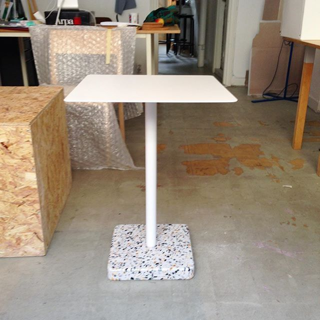 First prototype of the Terazzo Table at my old studio. Together with @haydesign we really created a durable and beautiful product. #haydesign #hayterrazzotable #danielenoksson #danielenokssonstudio #surface #material #prototype #terrazzo #swedishdesign #hay #studio #workinprogress
