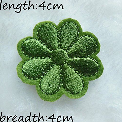 FairyTeller Green Flower Patch Hot Melt Adhesive Clothing Patch 1Pcs Applique Embroidery Blossom Diy Accessories C218 -- You can find out more details at the link of the image.