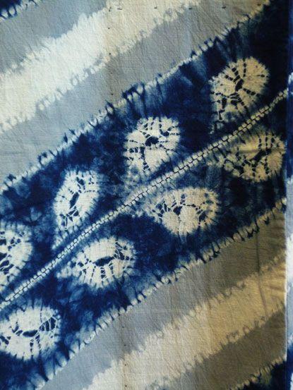 Taisho era kimono (1912-1936) with gray added to indigo dyed shibori yukata.  Wisteria pattern